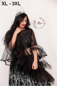 Designer Black Net Legenga With Ruffled Dupatta For Party And Reception Wear