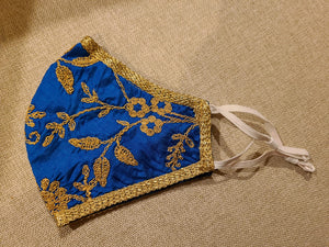 Royal Blue Stylist Embroidery Masks