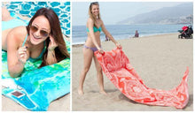 Load image into Gallery viewer, Beach Towel with Pillow, Water-resistant Pocket and Touch Screen Phone Pocket