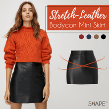 Load image into Gallery viewer, SHAPE™ Stretch-Leather Bodycon Mini Skirt