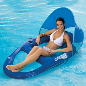 Float Recliner Pool Lounger with Canopy