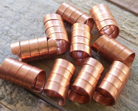 A top view of Copper Dread Beads set of 10