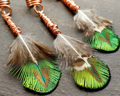 Peacock Feather Loc Beads, Set of 3