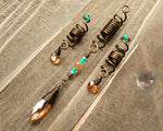 Amber glass set of 3 dread beads displayed on wood background.