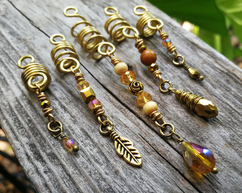Set of 5 Gold Amber Loc Beads