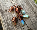 A top view of Labradorite Dread Beads Set of 3.