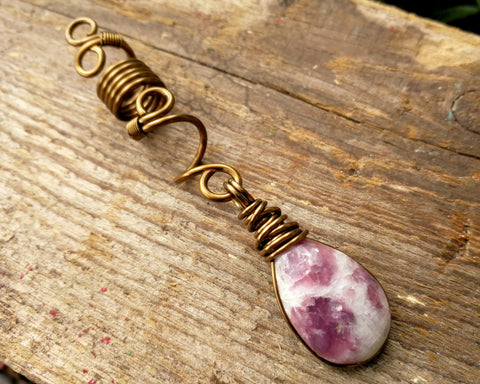Ruby, Antique Brass Dreadlock Bead