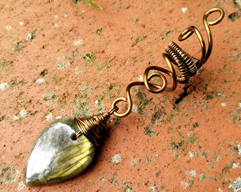 Gold Labradorite Dread Bead, Antique Brass