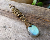 Labradorite, Antique Brass Loc Bead