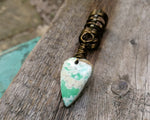 Variscite Dreadlock Bead, Antique Brass