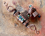 A close up top view of Copper Turquoise Dread Beads Set of 3