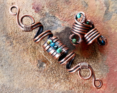 Copper Turquoise Dread Beads, Set of 3