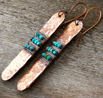 A side view of Turquoise Hammered Copper Earrings.