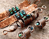 A comparison of Copper Turquoise Dread Beads Set of 3 beside a matching earrings.
