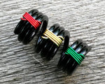 Close up of Banded Rasta Dread Bead.