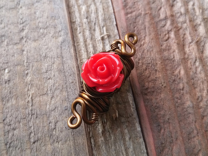 Red Rose Dread Bead
