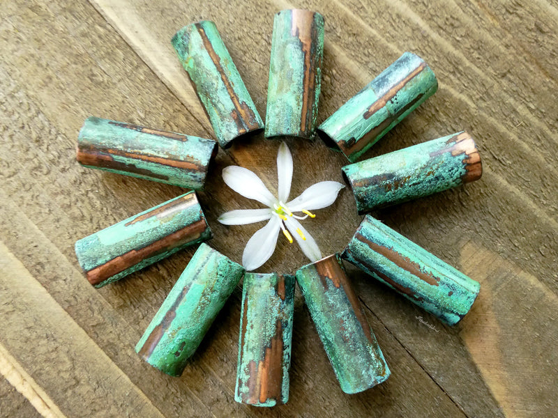 Green Patina Copper Tube Beads