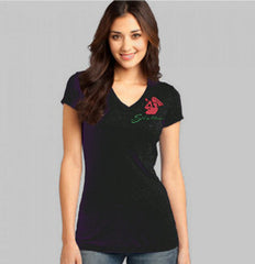 Womens V-Neck Cap Sleeve Tee (black only)