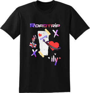 Road Trip Multi Colour Collage T-Shirt - Black
