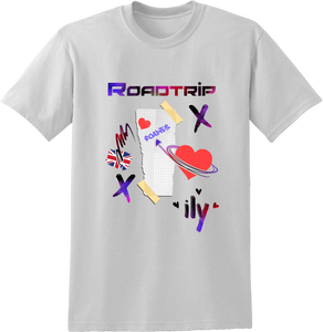 Road Trip Multi Colour Collage T-Shirt - White