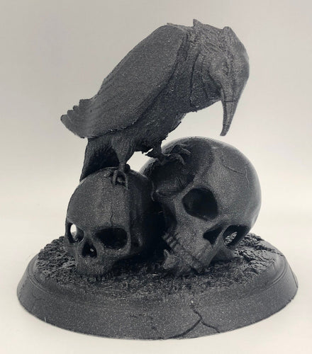 Nevermore! - Raven and Skulls Statue, for Edgar Alan Poe fans and Bird Lovers