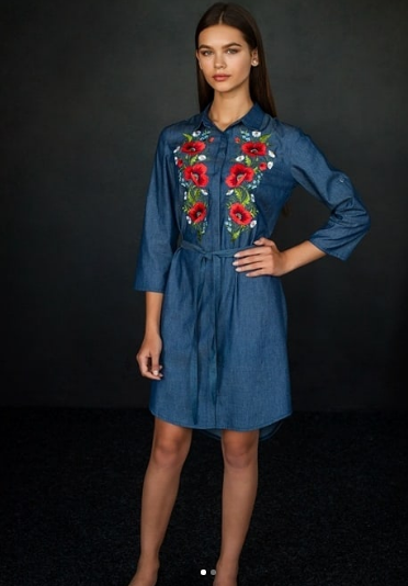 Blue Jeans Tunic With Poppies