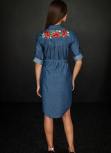 Load image into Gallery viewer, Blue Jeans Tunic With Poppies