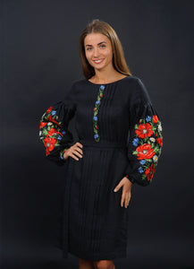 Black Embroidered Dress With Poppies