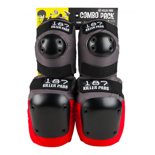 187 Killer Pads Combo Pack Knee & Elbow - Grey/Red - Prime Delux Store