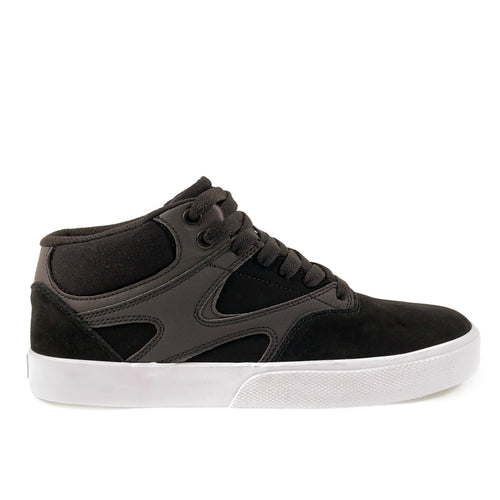 DC Shoes Kalis Vulc Mid Leather Skate Shoes - Black / Black / White - Prime Delux Store