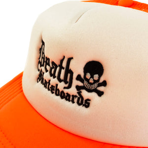 Load image into Gallery viewer, Death Skateboards Mesh Trucker Cap - Orange / White