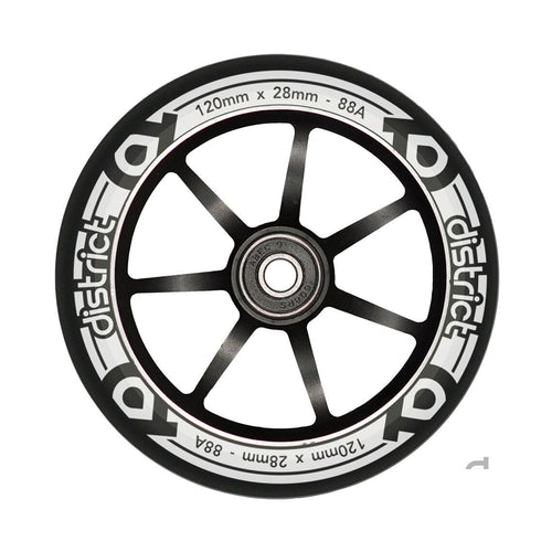 District Scooters 120mm Dual Width Wheel - Black / White - Prime Delux Store