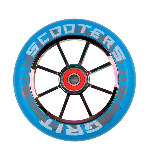 Grit 8 Spoke 100mm Scooter Wheel - Blue / Neo Chrome (x 2 Sold as a pair) - Prime Delux Store