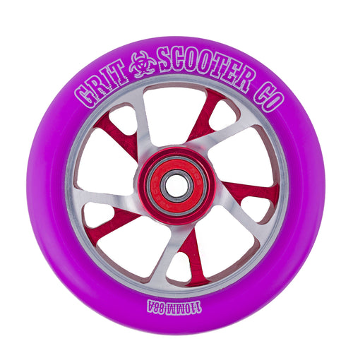 Grit 5 Bio Core 110mm Scooter Wheel - Purple / Silver Black - Prime Delux Store