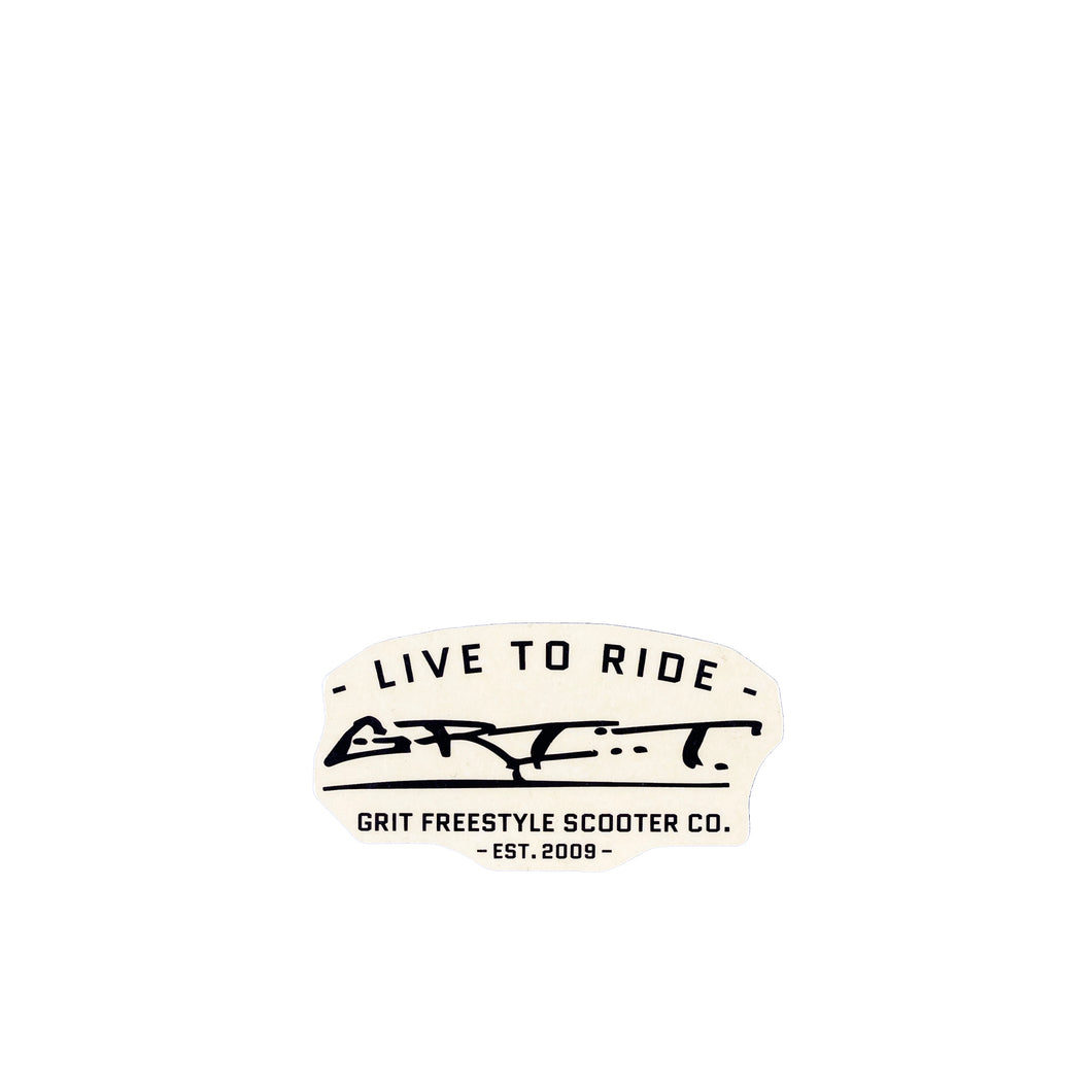 Grit Scooters Live To Ride Sticker - Black / Clear - Prime Delux Store