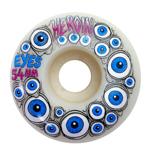 Load image into Gallery viewer, Heroin 54mm Eyes Wheels (Glow in dark) - White - Prime Delux Store