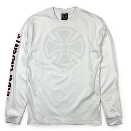 Independent Bar Cross Long Sleeve T - White - Prime Delux Store