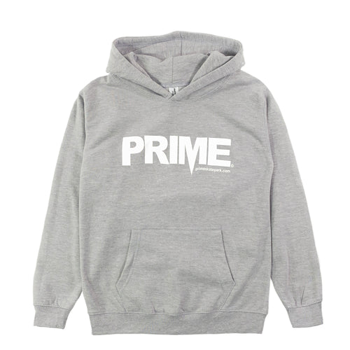 Prime Delux OG Logo Kids Hooded Sweat - Heather Grey / White - Prime Delux Store