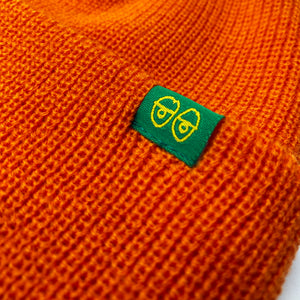 Load image into Gallery viewer, Krooked Eyes Clip Cuff Beanie - Orange / Green - Prime Delux Store