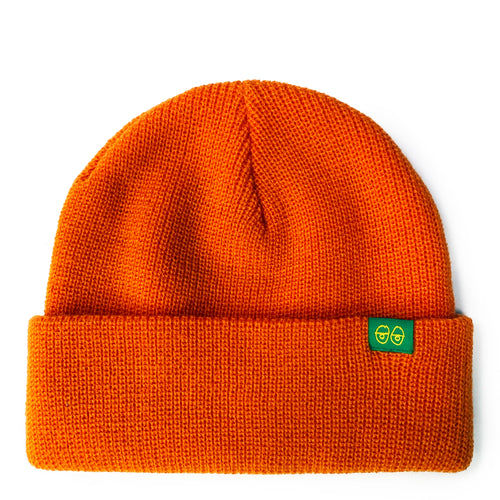 Krooked Eyes Clip Cuff Beanie - Orange / Green - Prime Delux Store