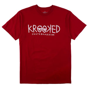 Krooked Eyes T-Shirt - Cardinal / White - Prime Delux Store