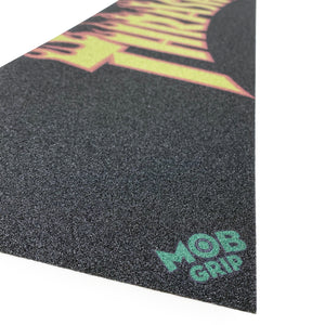 "Load image into Gallery viewer, Mob Thrasher Yellow Orange Flame Griptape Sheet - 33 x 9"" - Prime Delux Store"