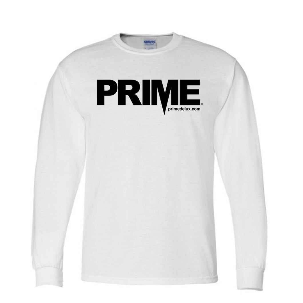 Prime Delux OG Logo Kids Long Sleeve T Shirt - White / Black - Prime Delux Store