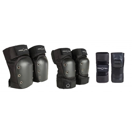 Pro-Tec Street Gear Junior Pad Set 3 Pack - Black - Prime Delux Store