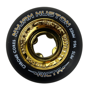 Load image into Gallery viewer, Ricta Wheels Nyjah Chrome Core Slim 99a 52mm - Black / Gold - Prime Delux Store