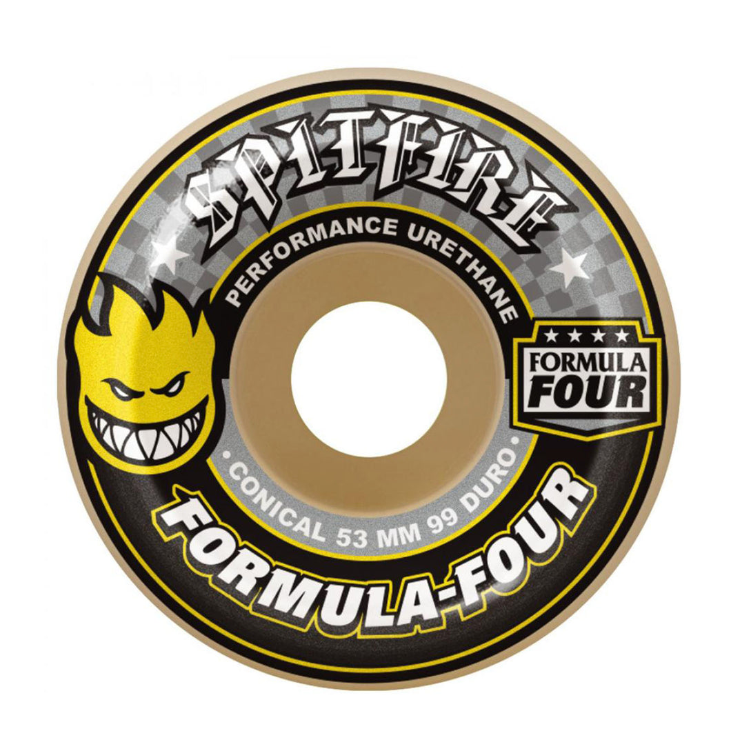 Spitfire Formula Four Wheels Conical 53mm - Yellow Print - Prime Delux Store
