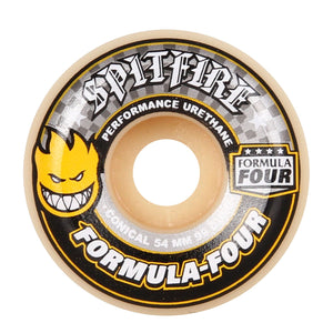 Spitfire Formula Four Wheels Conical 54mm - Yellow Print - Prime Delux Store