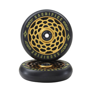 Load image into Gallery viewer, Sacrifice Spy Wheels 110mm - Black / Gold (x 2 / Sold as a pair) - Prime Delux Store