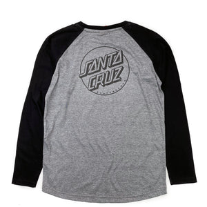 Load image into Gallery viewer, Santa Cruz Youth Opus Dot Baseball Long Sleeve T Shirt - Black / Dark Heather - Prime Delux Store