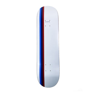 "Load image into Gallery viewer, Skateboard Cafe Stripe Deck White / Blue / Navy / Red - 8"" - Prime Delux Store"